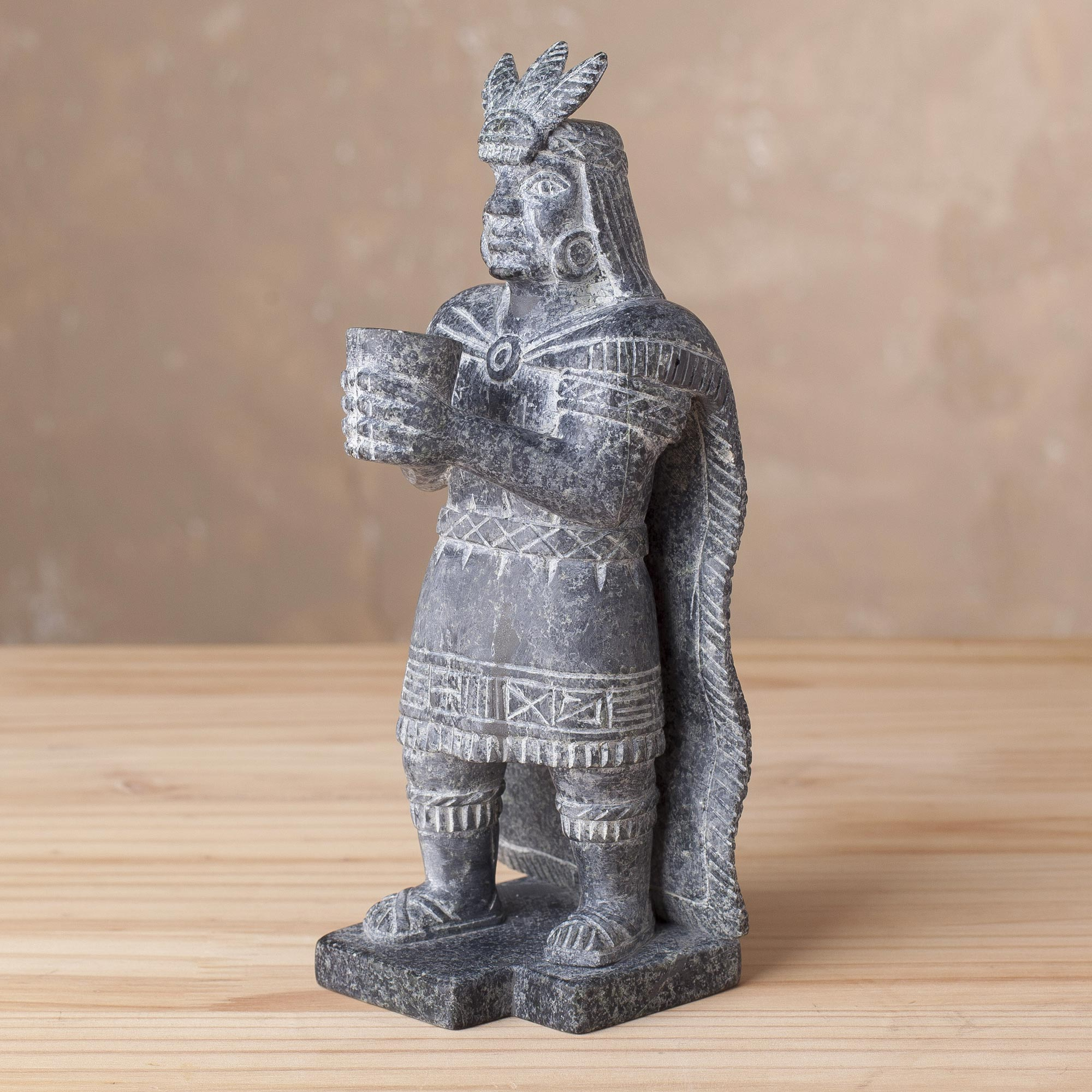 Inca offering Cultural Serpentine Stone Inca Sculpture from Peru hand carved art Stone Carver descended from Inca Warriors