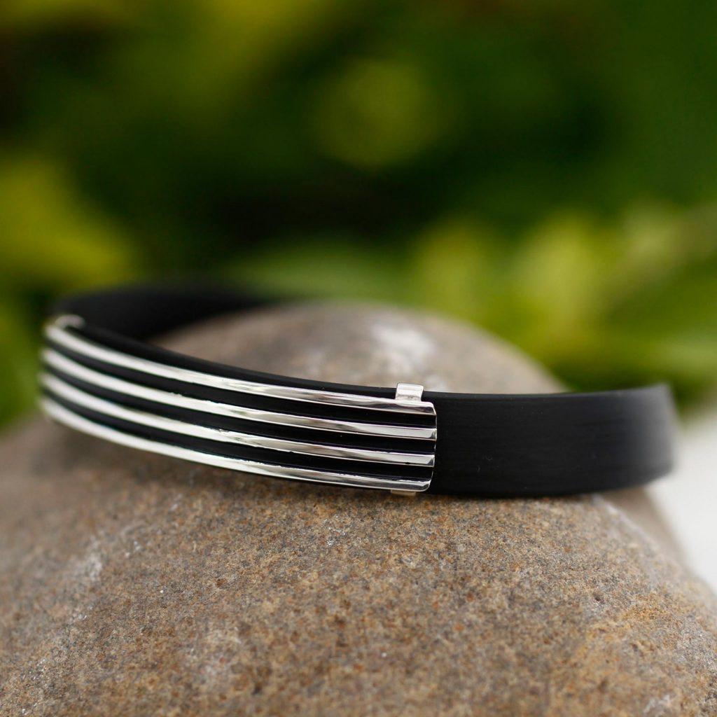 Journey to Taxco Men's Collectible Taxco Silver and Black Rubber Bracelet Men's Bracelets