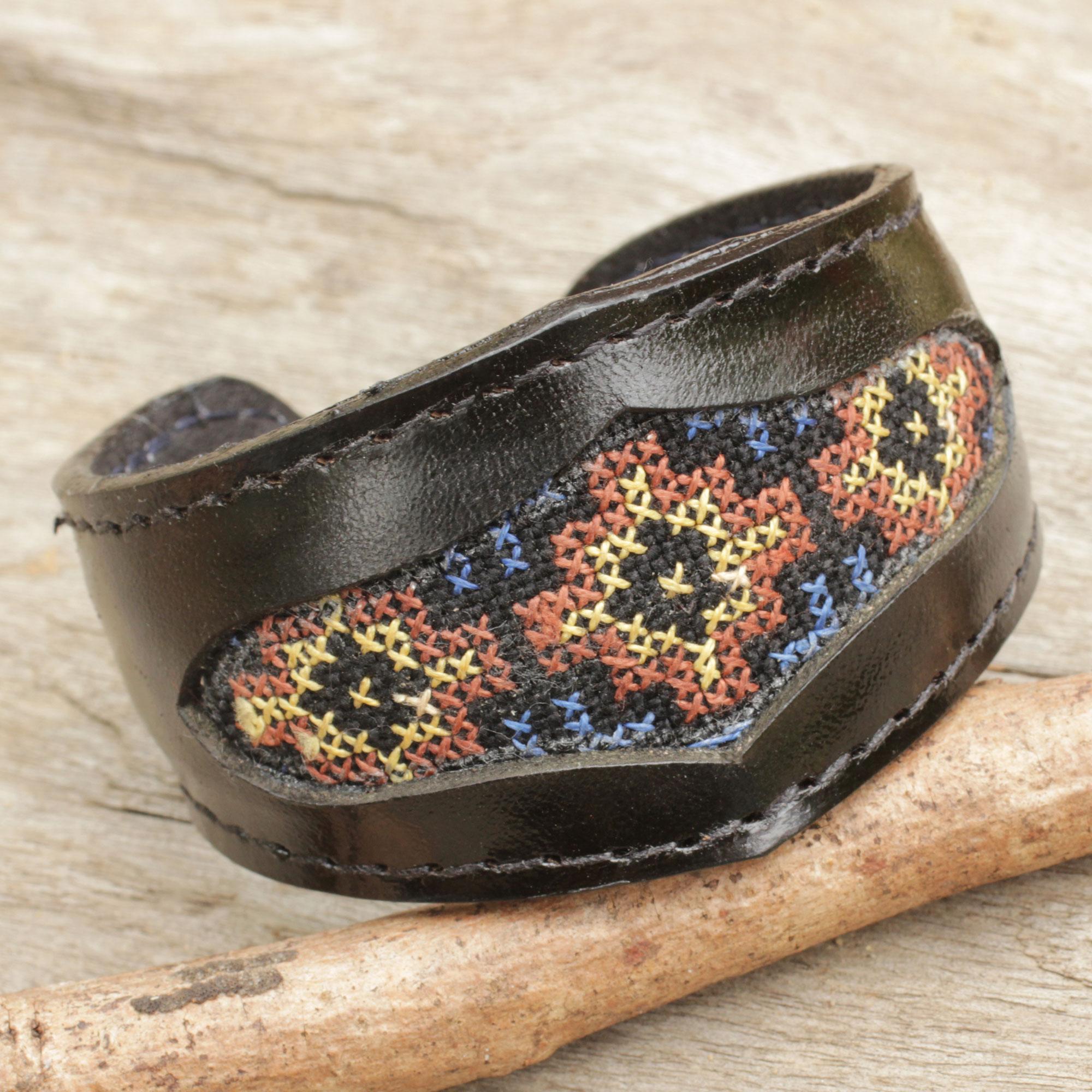 Karen Cross Stitch Handcrafted Leather Bracelet with Karen Tribe Embroidery friendship bracelet