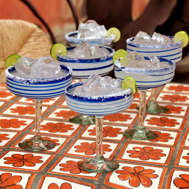 Cobalt Spirals Handblown Glass Striped Margarita Drinkware Set of 6 Fourth of July