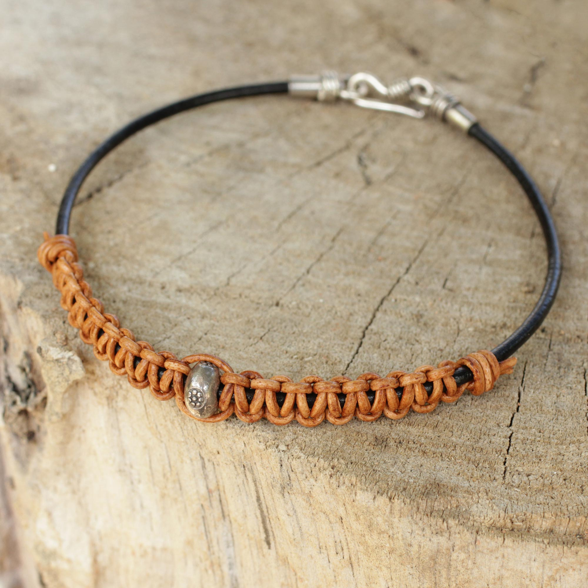 Tribal Paths Men's Brown Leather Bracelet Crafted by Hand with Silver Boho men's bracelets, leather men bracelet