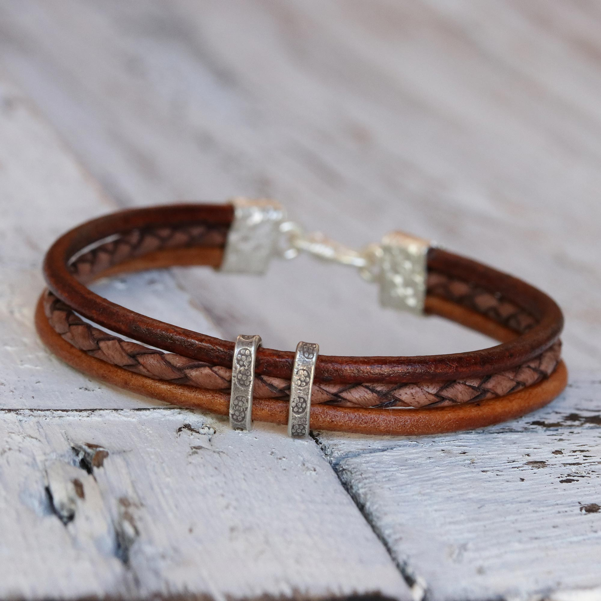 Brown Textural Contrast Brown Leather Braided Bracelet with Hill Tribe Silver Tribal men's bracelets, leather bracelet