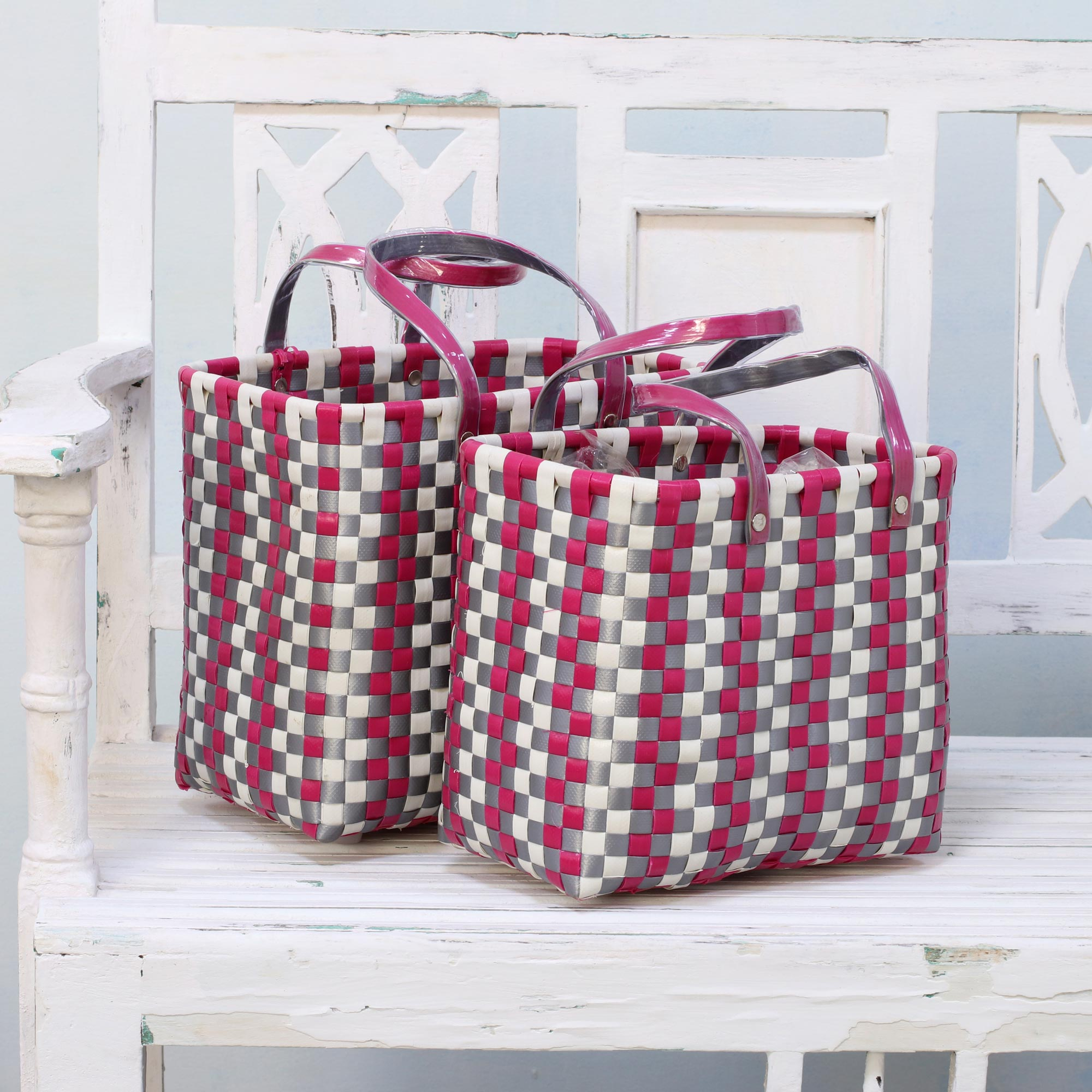 picnic baskets Eco-Friendly Picnic Two Handwoven Recycled Plastic Baskets from India Fuchsia gray white Fourth of July