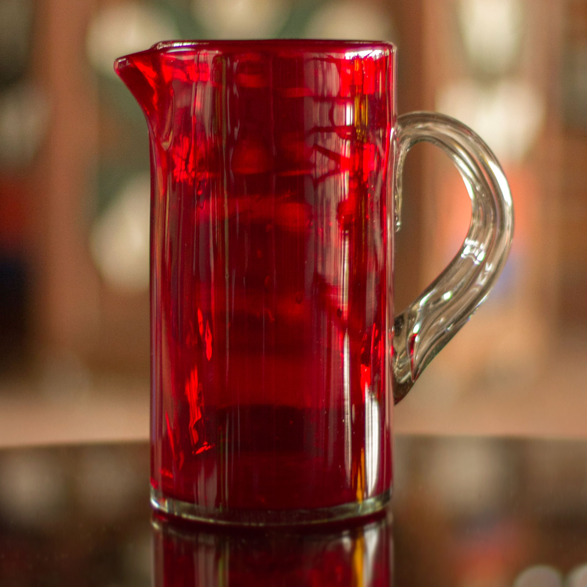 red pitcher Ruby Red Mexican Hand Blown Glass Modern Pitcher Fourth of July