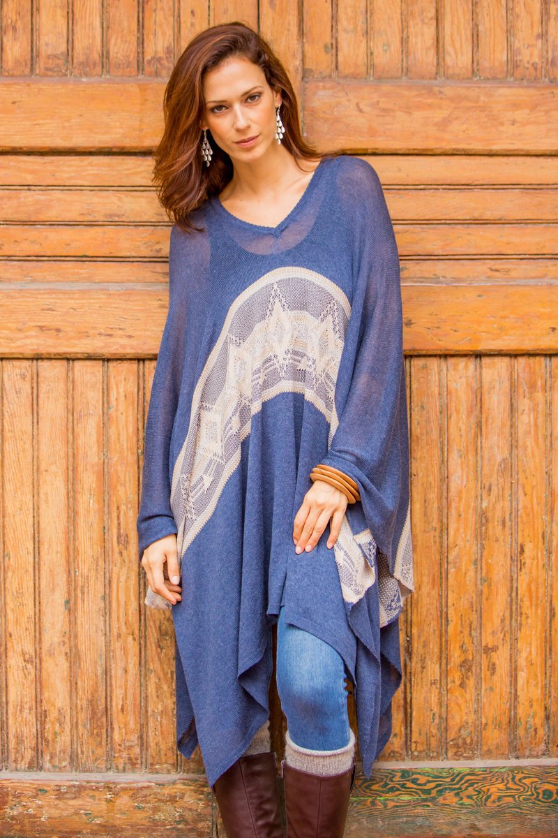 'Blue Inca' Woven Navy Blue Patterned Poncho from Peru, Inca Inspired Clothing Art Decor Inca empire