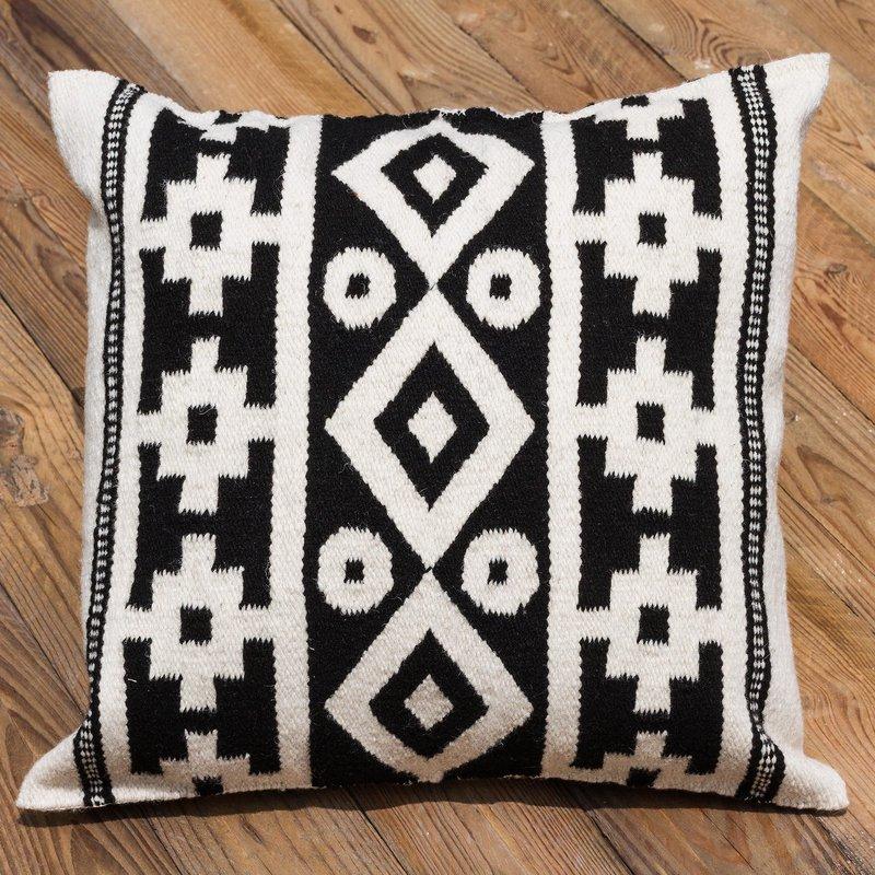Handwoven Black and White Inca Motif Wool Cushion Cover, Pillow cover 'Inca Duality' Inca Inspired Clothing Art Decor Inca Empire