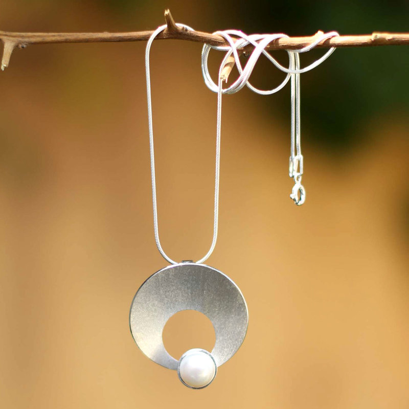 Pearl and Silver Pendant Necklace, Peru, Moon, Inca Inspired Clothing Art Decor Inca Empire