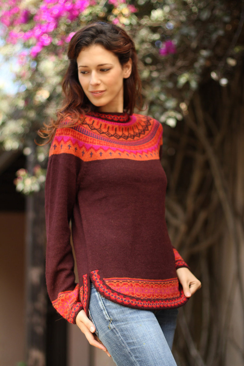 Women's Art Knit Alpaca Pullover Sweater from Peru, Product ID: 180905 Send to a friend 'Plum Paradise' Inca Inspired Clothing Art Decor inca empire