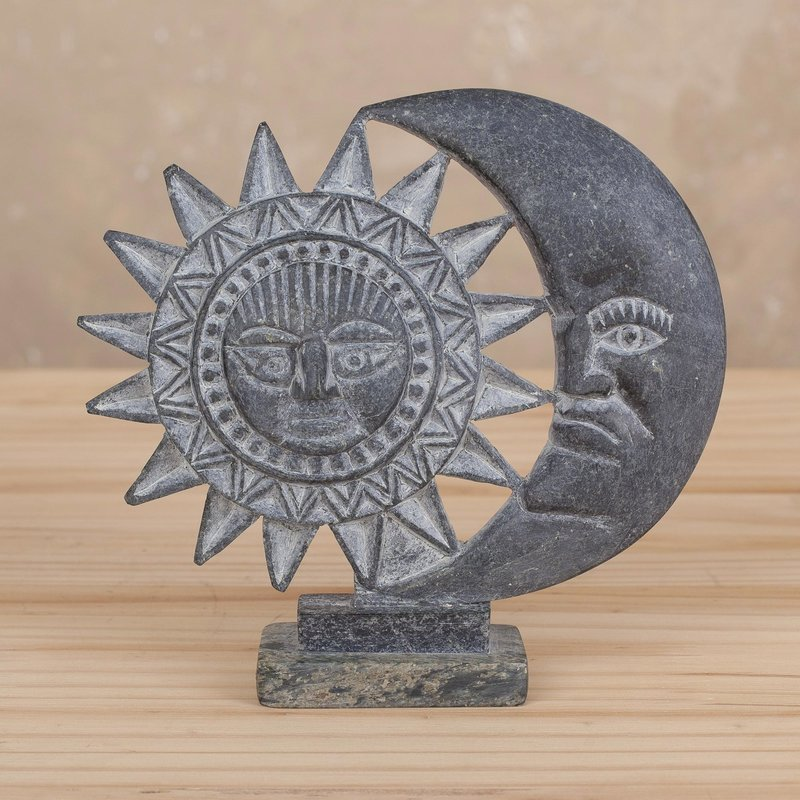 Handcrafted Serpentine Sun and Moon Sculpture 'Inca Marriage' from Peru, Inca Inspired Clothing Art Decor Inca Empire