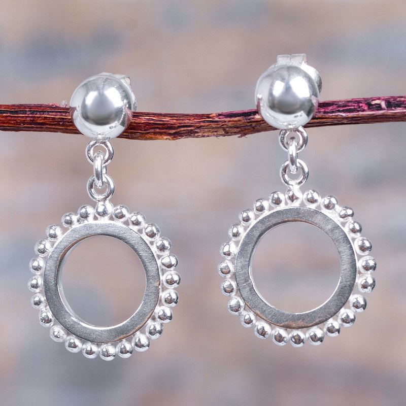 Modern Sterling Silver Dangle Earrings from Peru, Remembering Sipan Inca empire Inspired Clothing Art Decor