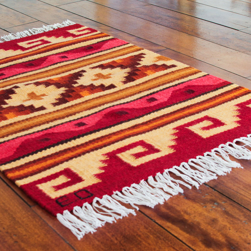Petite Handwoven Andean Geometric Wool Rug (2 x 3) 'Our History' Inca Empire Inca Inspired Clothing Art Decor