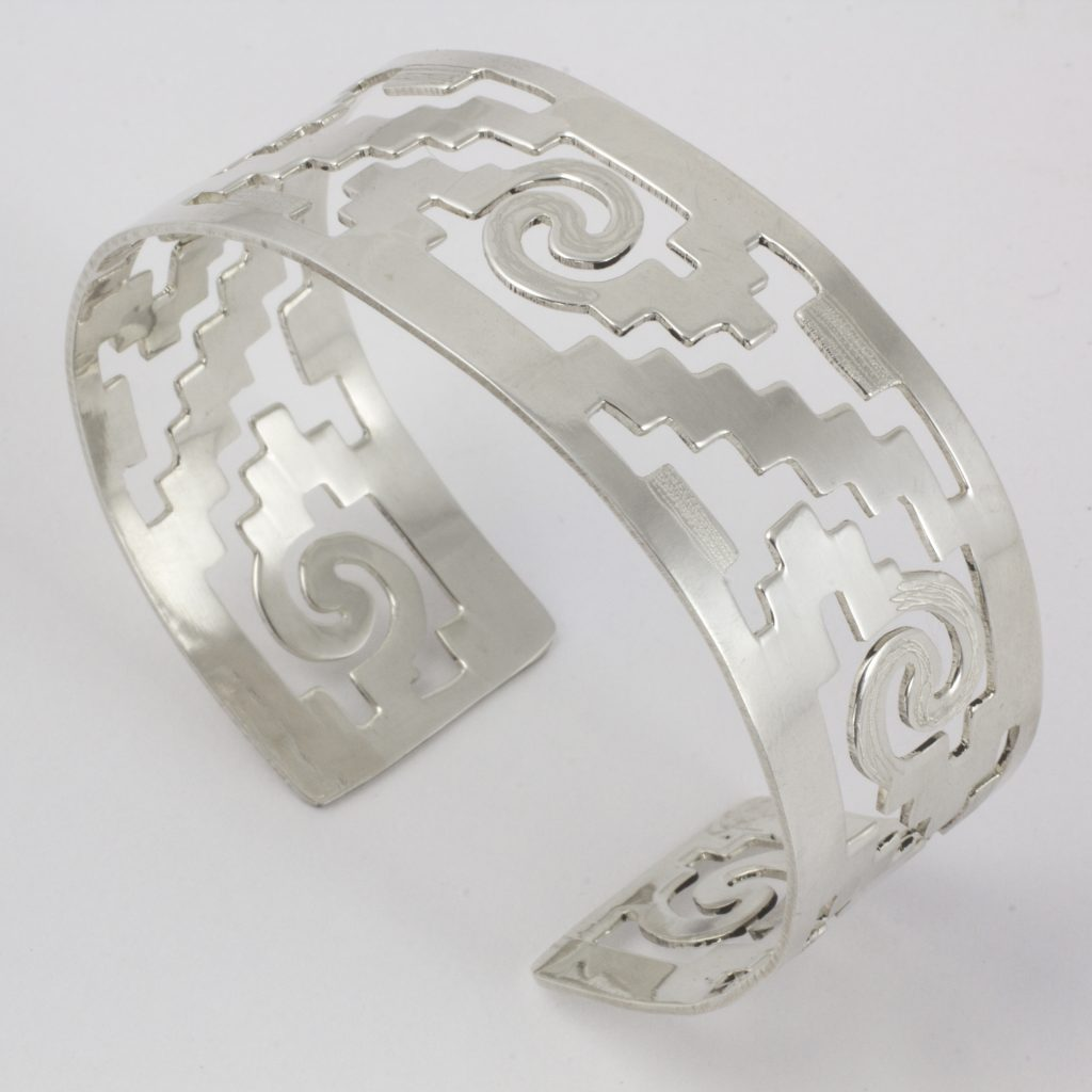 Steps of Tenochtitlan Handcrafted Mexican Cuff Bracelet with Pre-Hispanic Motifs Sterling Silver Cuff Bracelet Aztec and Maya