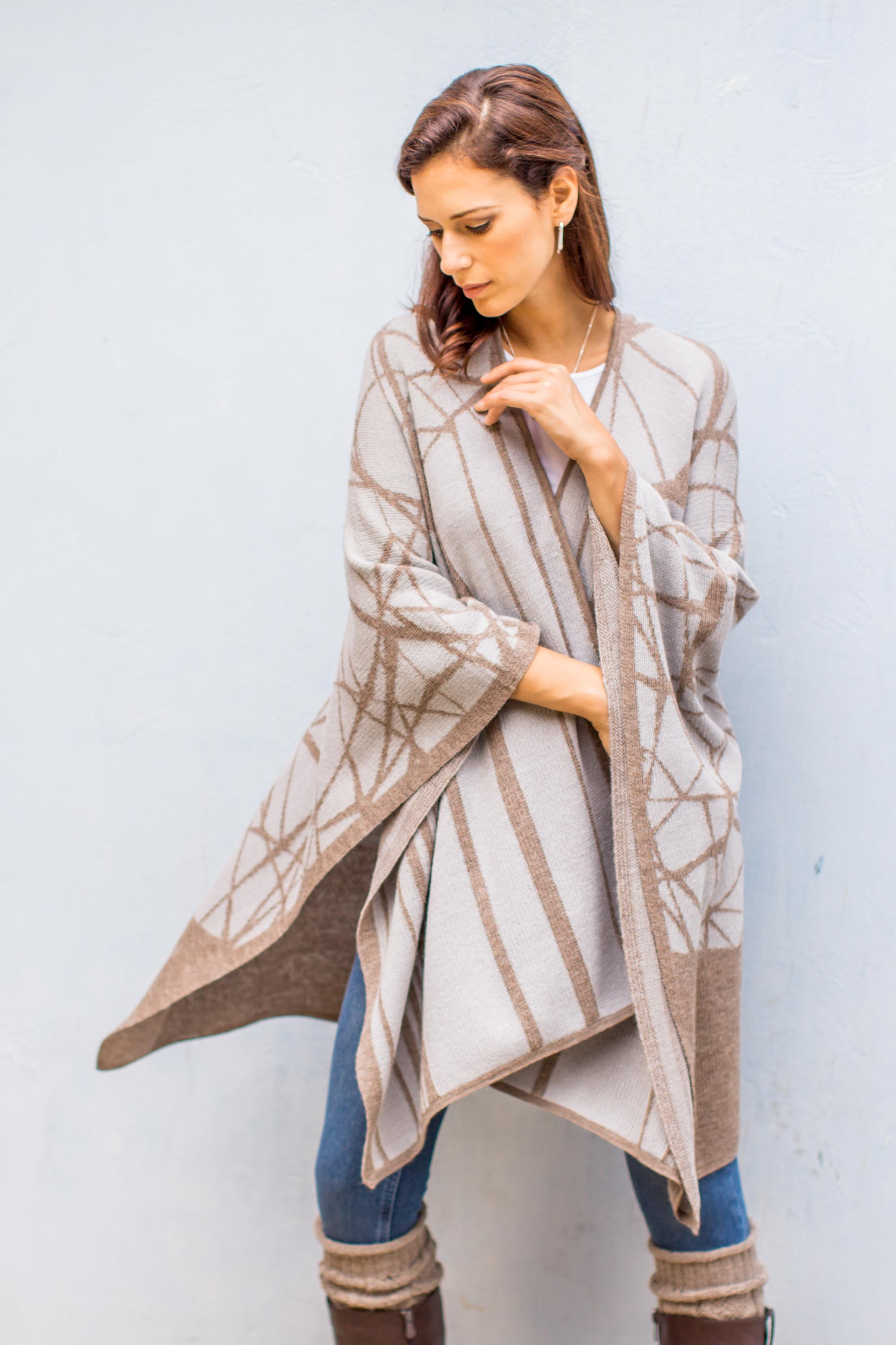 Eternal Tan Soft 100% Baby Alpaca Ruana in Tan on Grey from Peru Stylish & Practical Winter Accessories Look cool and stay warm Handmade art