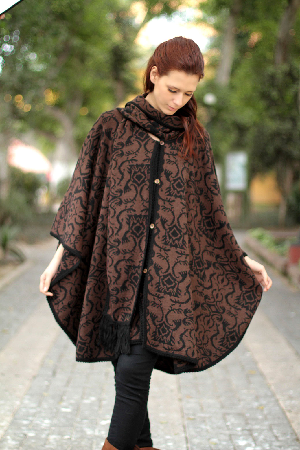 Piura Flora Hand Made Women's Alpaca Wool Blend Ruana Cloak Handmade Look cool and stay warm Stylish & Practical Winter Accessories
