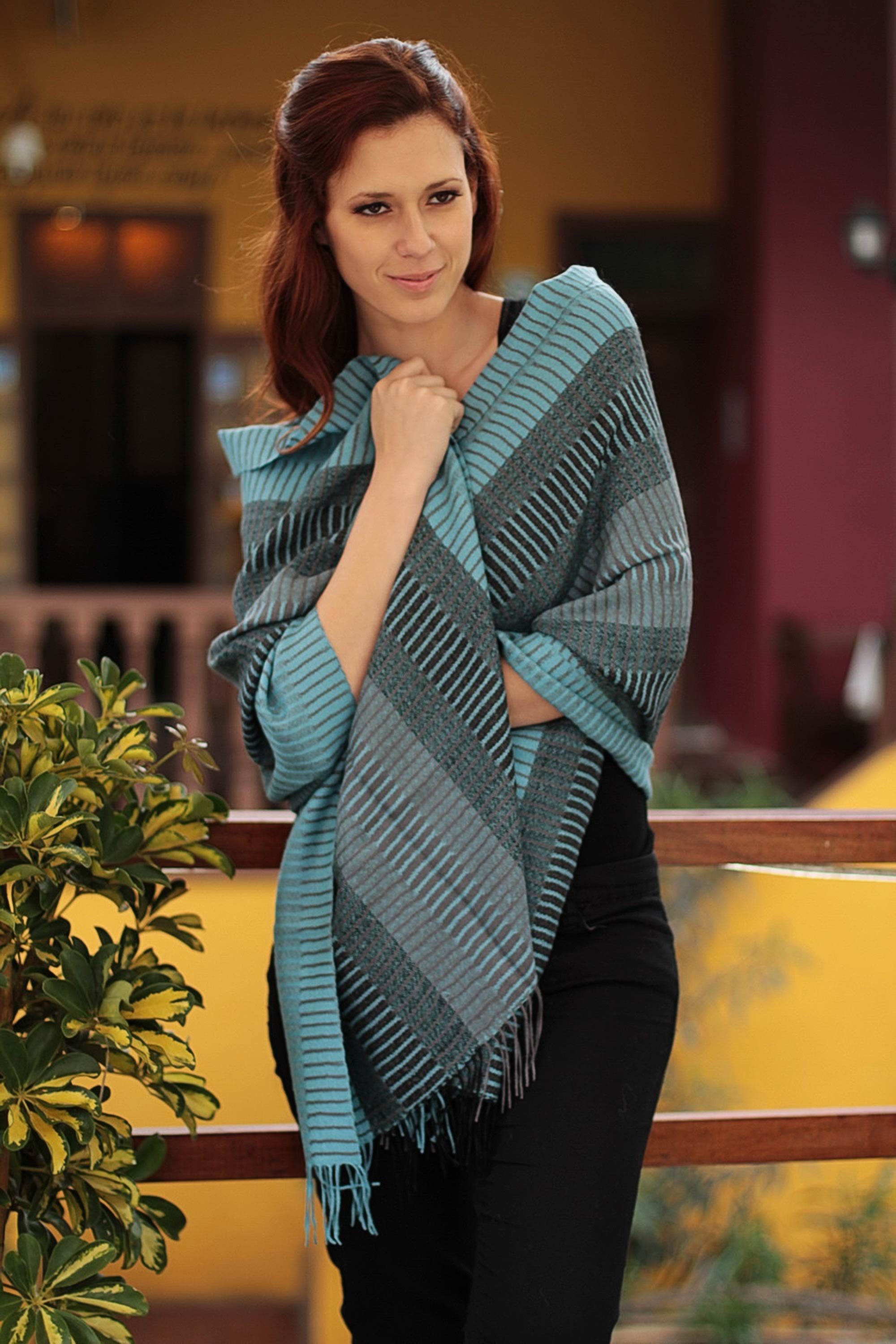 Turquoise Whisper Peruvian Alpaca Wool Patterned Shawl Handmade fair trade look cool and stay warm Stylish & Practical Winter Accessories
