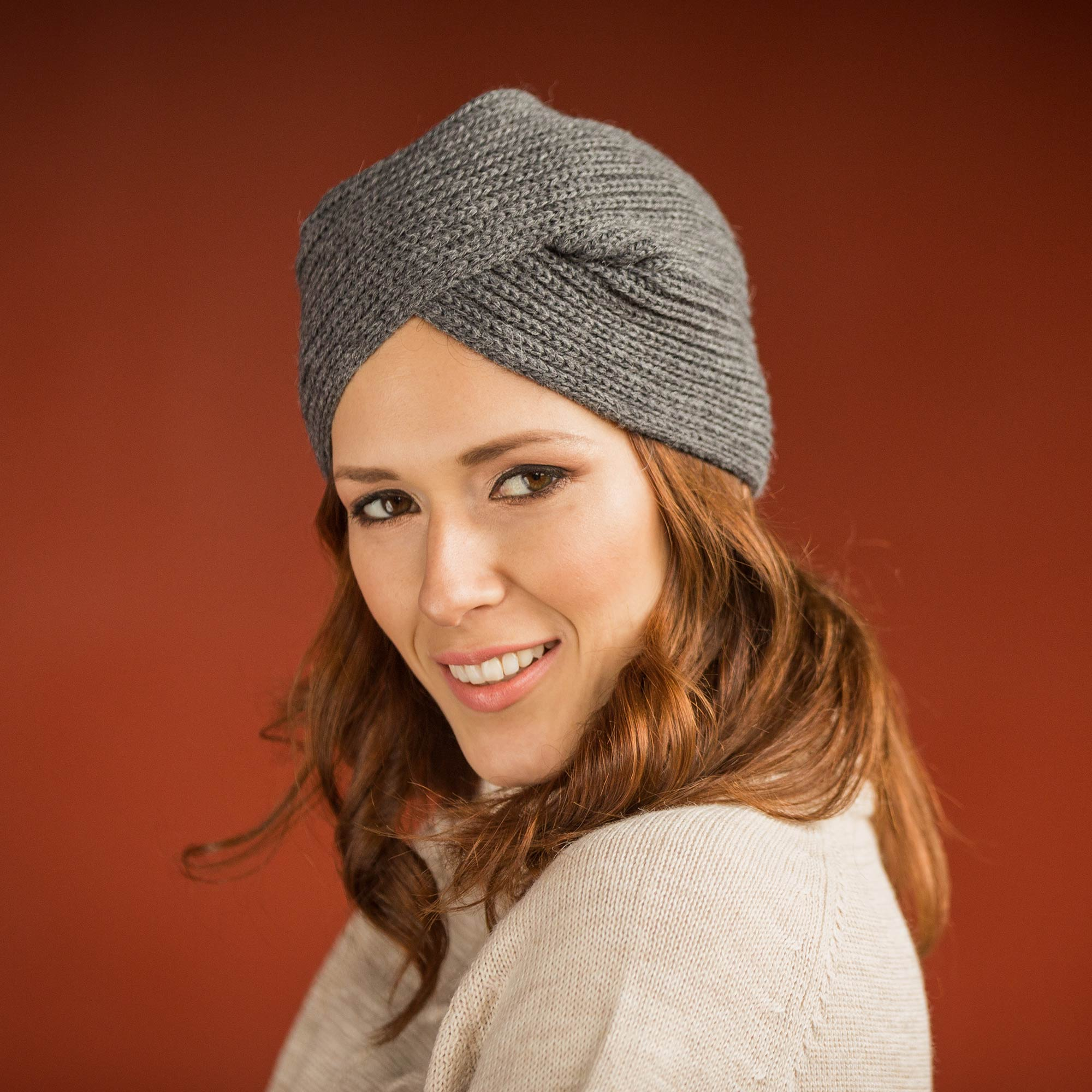 Grey Turban Knitted Grey Alpaca Blend Turban Style Hat from Peru Look Cool and Stay Warm Stylish & Practical Winter Accessories
