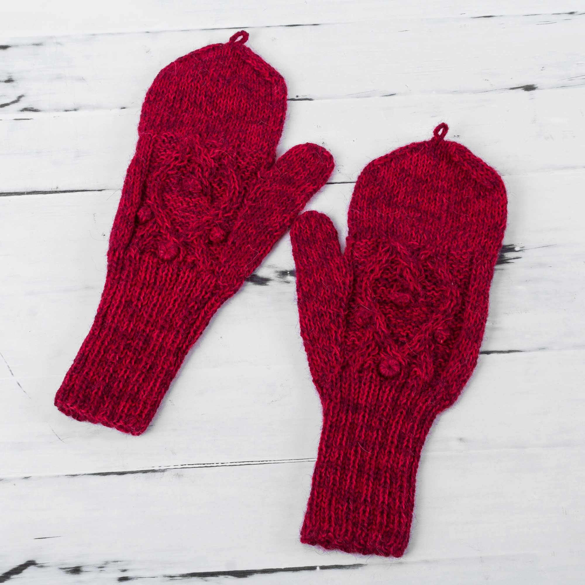 Cherry Braids Hand Knitted Andean 100% Alpaca Red Fingerless Mittens Look Cool and Stay Warm Stylish & Practical Winter Accessories NOVICA Fair trade