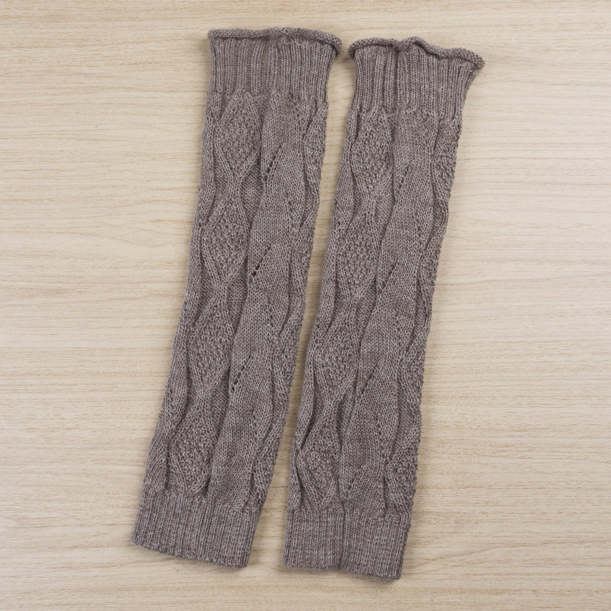 100% Alpaca Tan Patterned Knitted Leg Warmers from Peru Look Cool and Stay Warm Stylish & Practical Winter Accessories