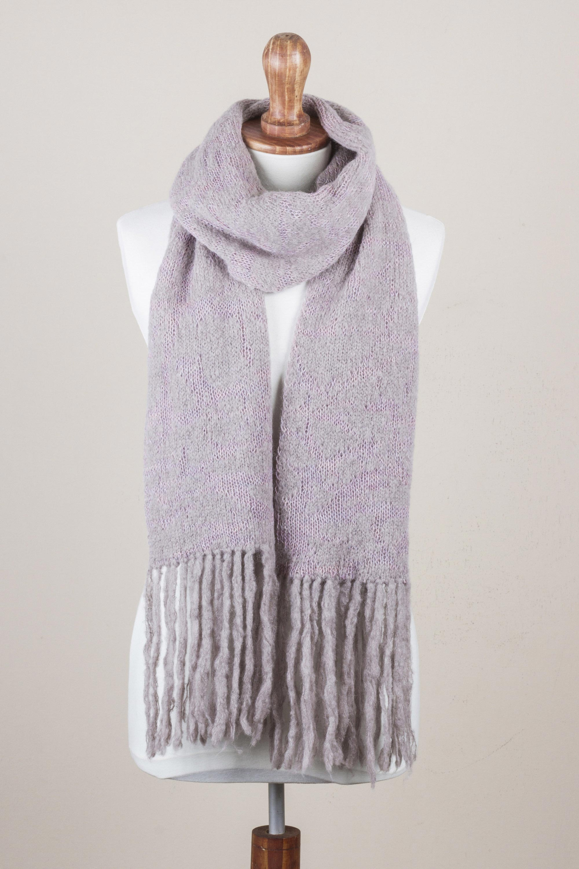 100% Alpaca Knit Scarf in Smoke and Pastel Pink from Peru Look Cool and Stay Warm Stylish & Practical Winter Accessories