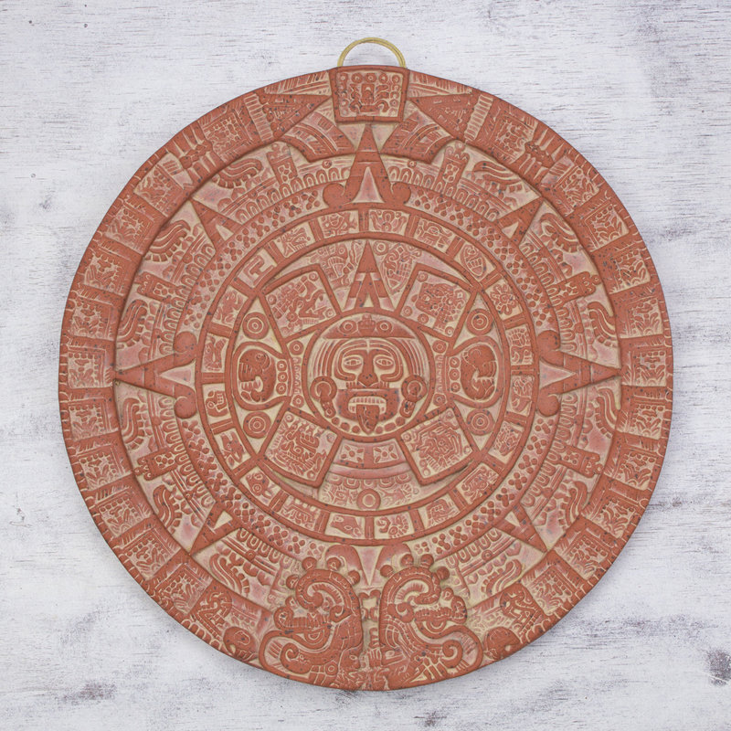 Burning Aztec Sun Stone Archaeological Ceramic Plaque Sculpture from Mexico Aztec and Maya