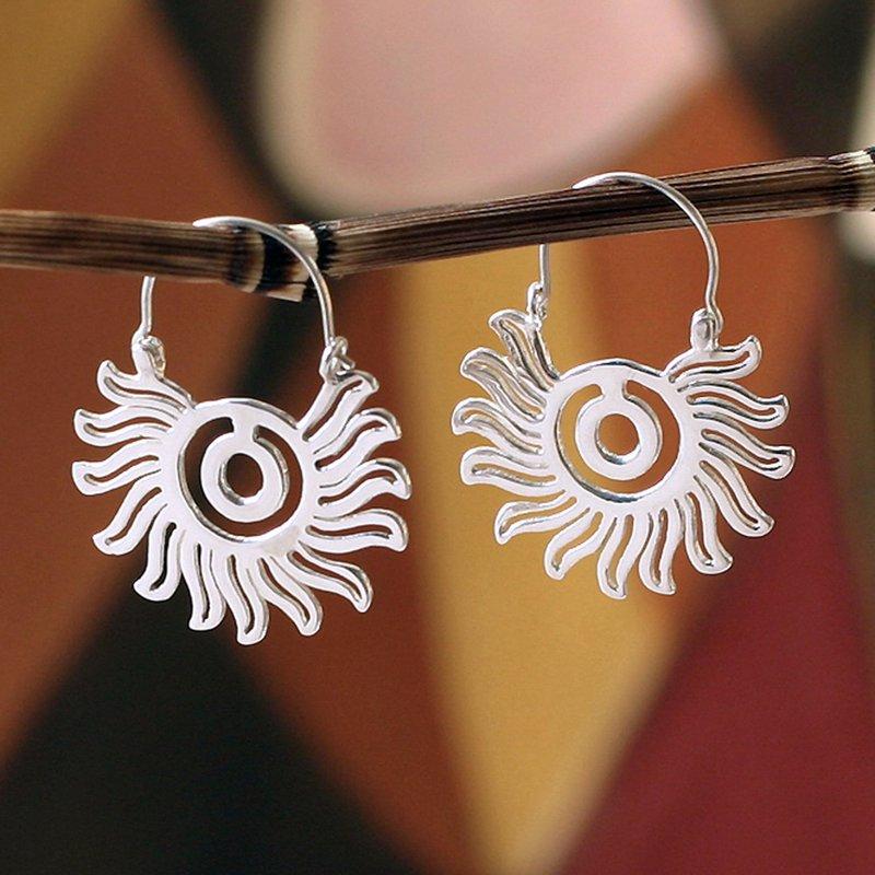 Aztec Sun Sterling silver hoop earrings Aztec and Maya