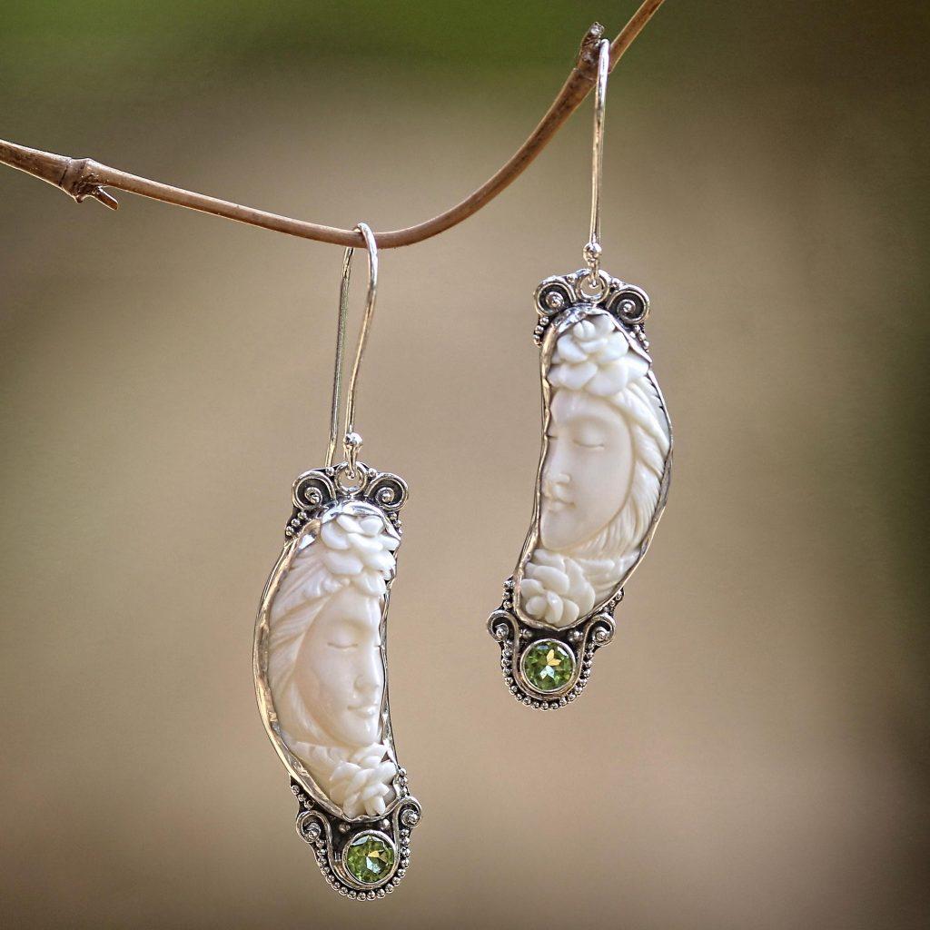 Peridot bone sterling silver dangle earrings, 'Rose Queen' peridot gemstone