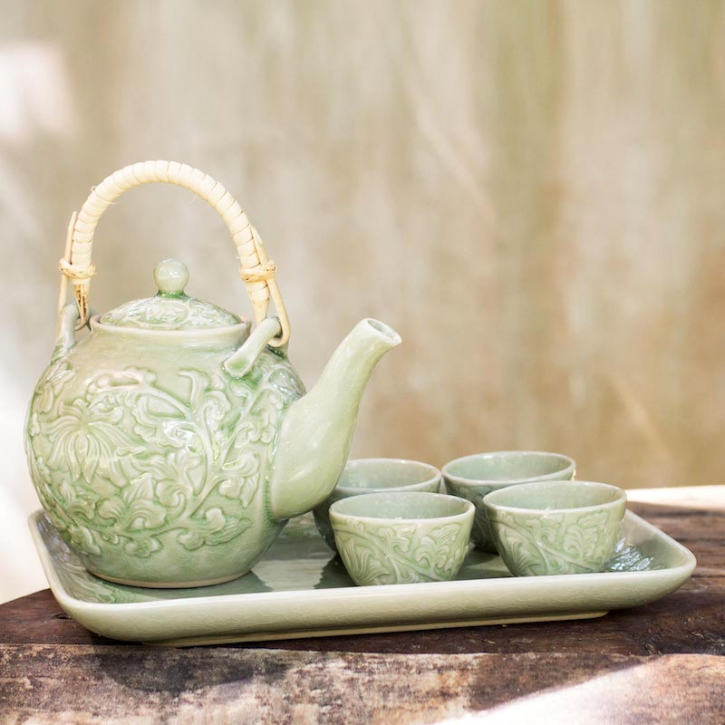 Ceramic tea set Island Delight celadon ceramic