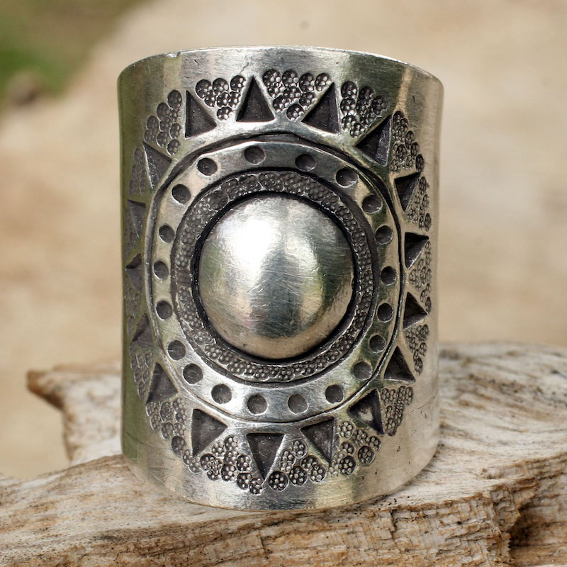Hill Tribe Sun Handmade Sterling Silver Wrap Ring Thai Hill Tribe Jewelry