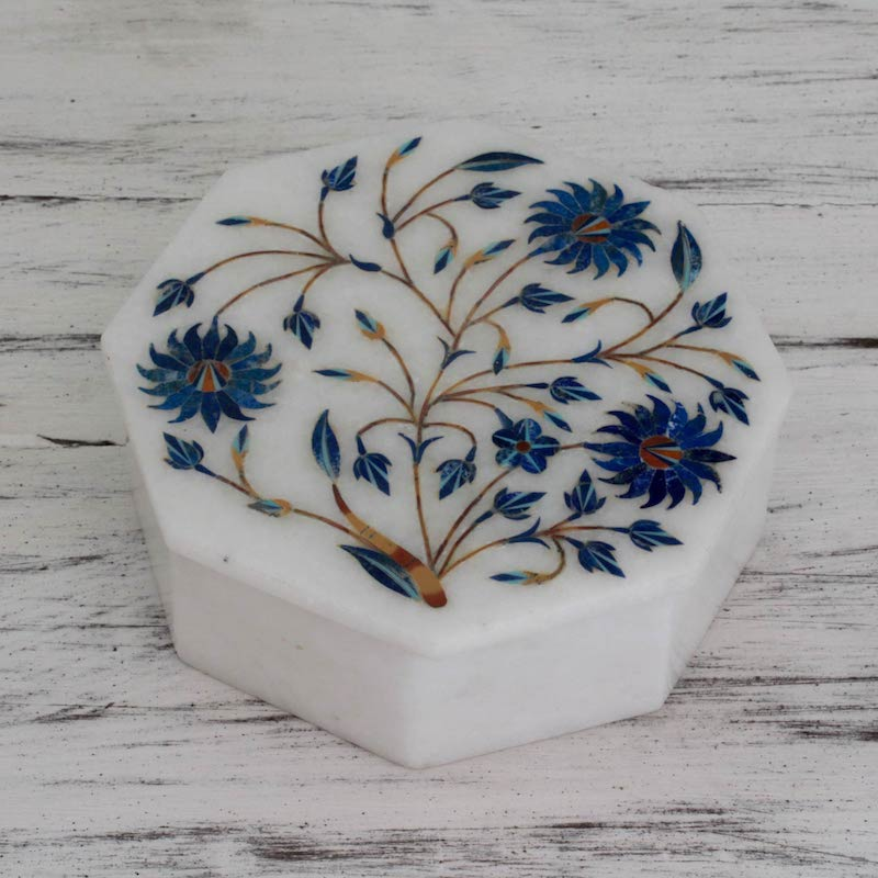 Country Meadow Handcrafted Marble Inlay Jewelry Box