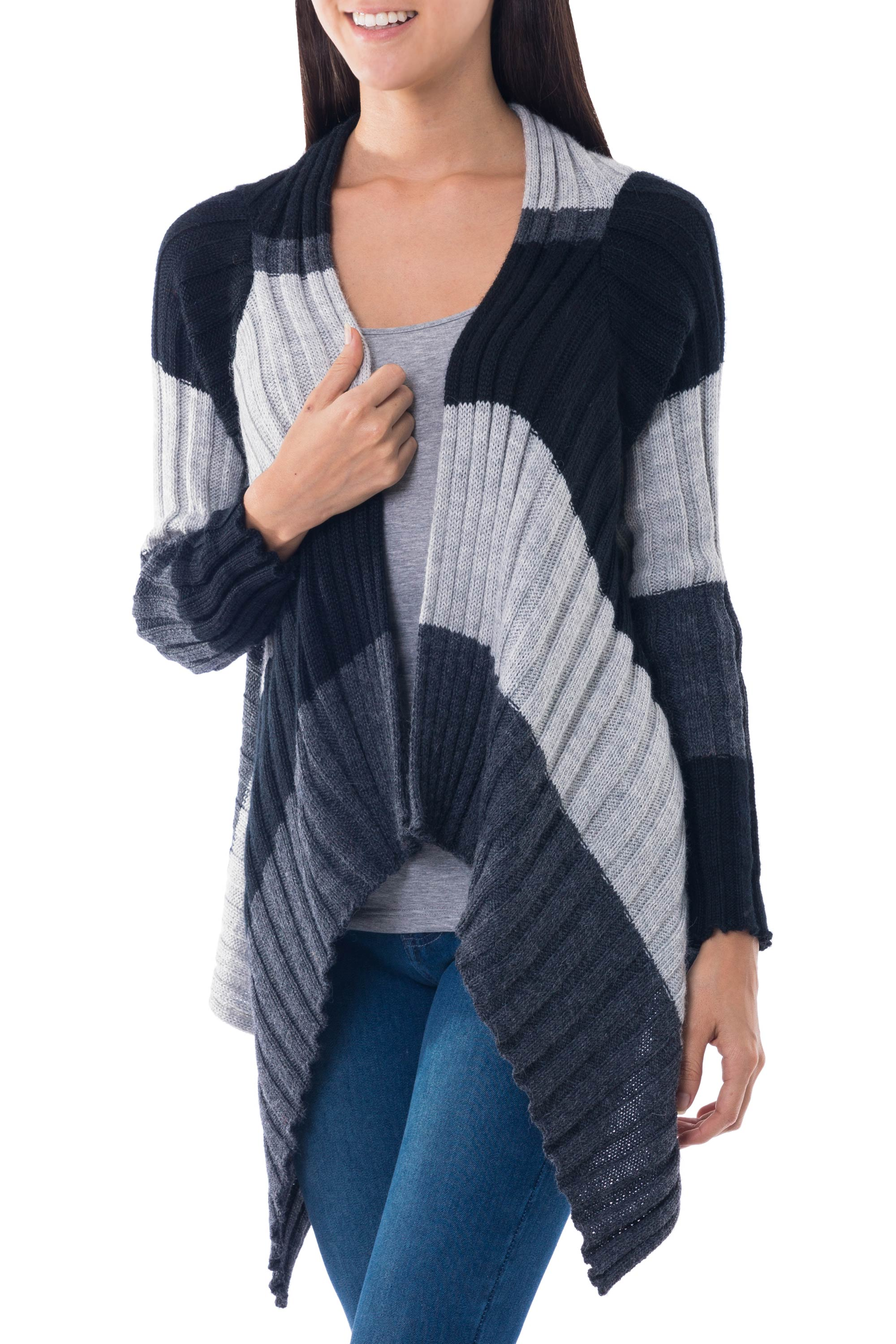 Bold Diagonal Black And White Alpaca Blend Open Front Cardigan Sweater