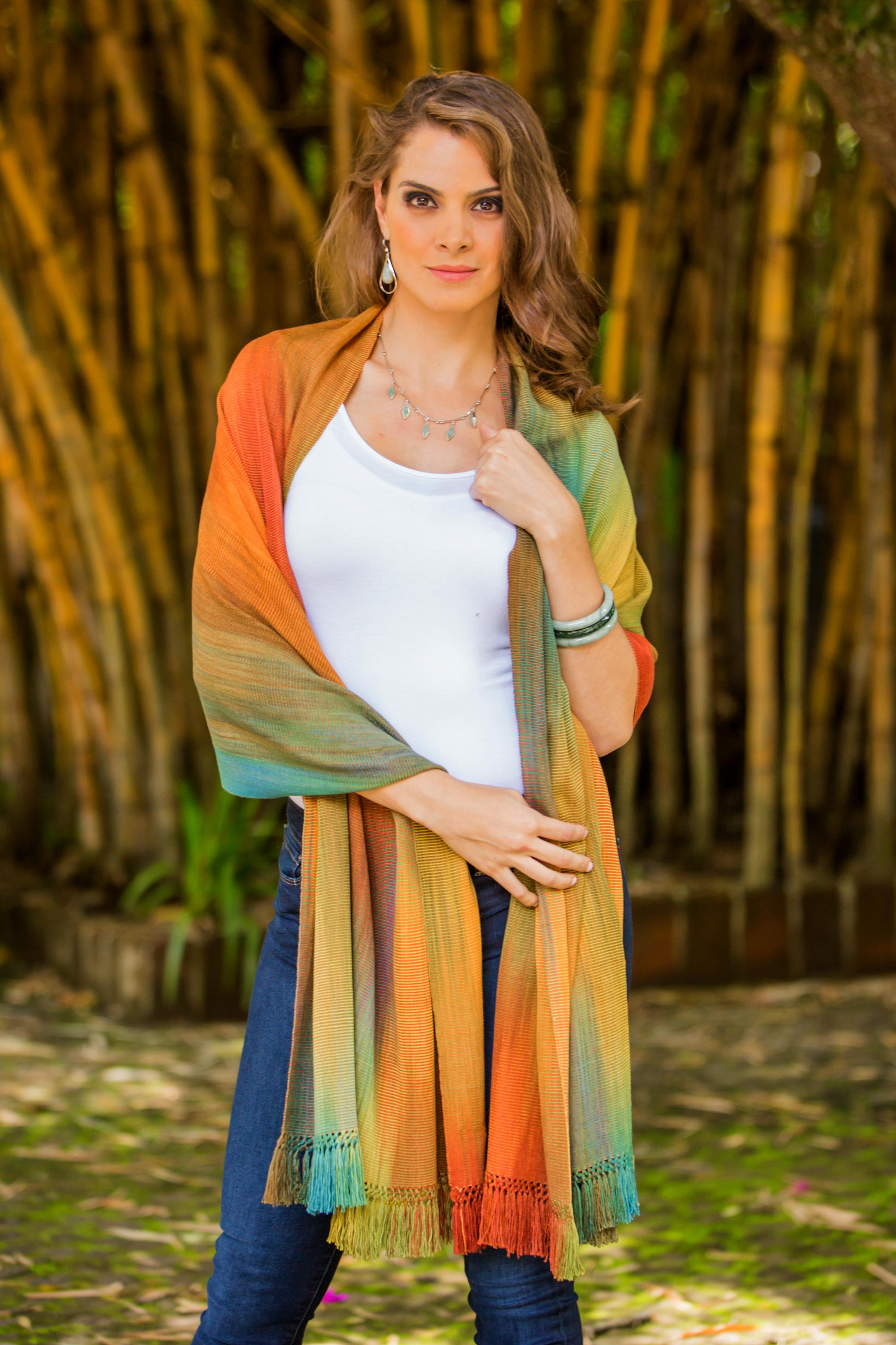Product ID: 209520 Send to a friend Nature's Ethereal Inspiration Guatemalan Rayon Chenille Shawl Fall colors fall fashion trends