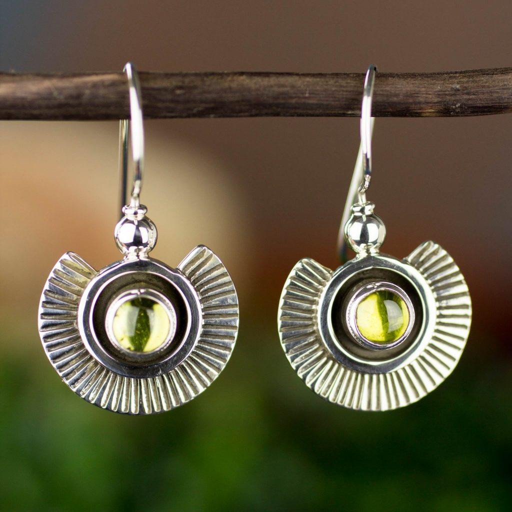 Peridot dangle earrings, 'Teotihuacan Suns' sterling silver peridot gemstone