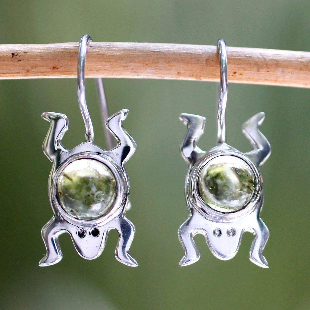Peridot sterling silver drop earrings, 'Lucky Green Frog' handmade peridot gemstone