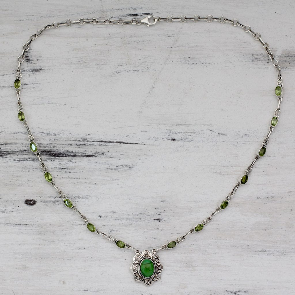 Peridot and Sterling Silver 925 Necklace with Composite Turquoise 'Woodland Halo' peridot gemstone