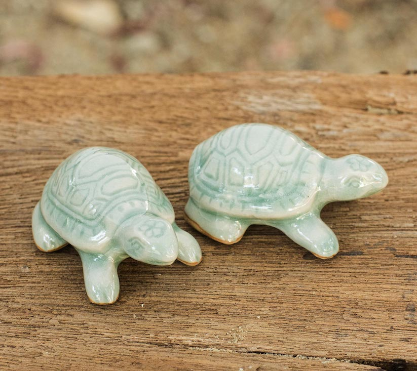 Sky Blue Resilient Turtles Celadon Ceramic sculptures