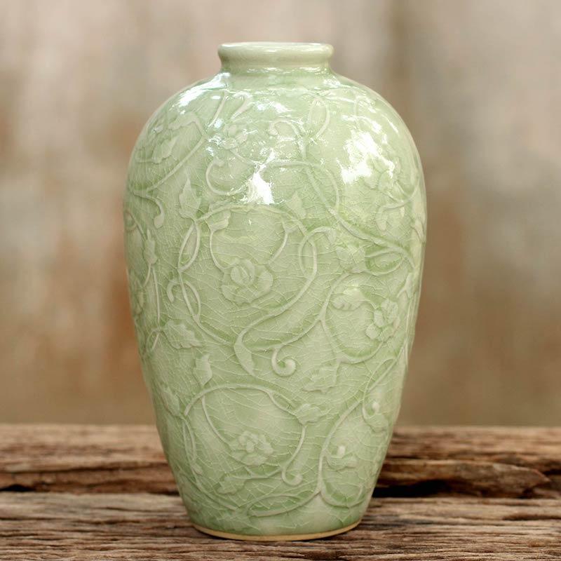 Wildflower Fair Trade Green Celadon Ceramic Vase