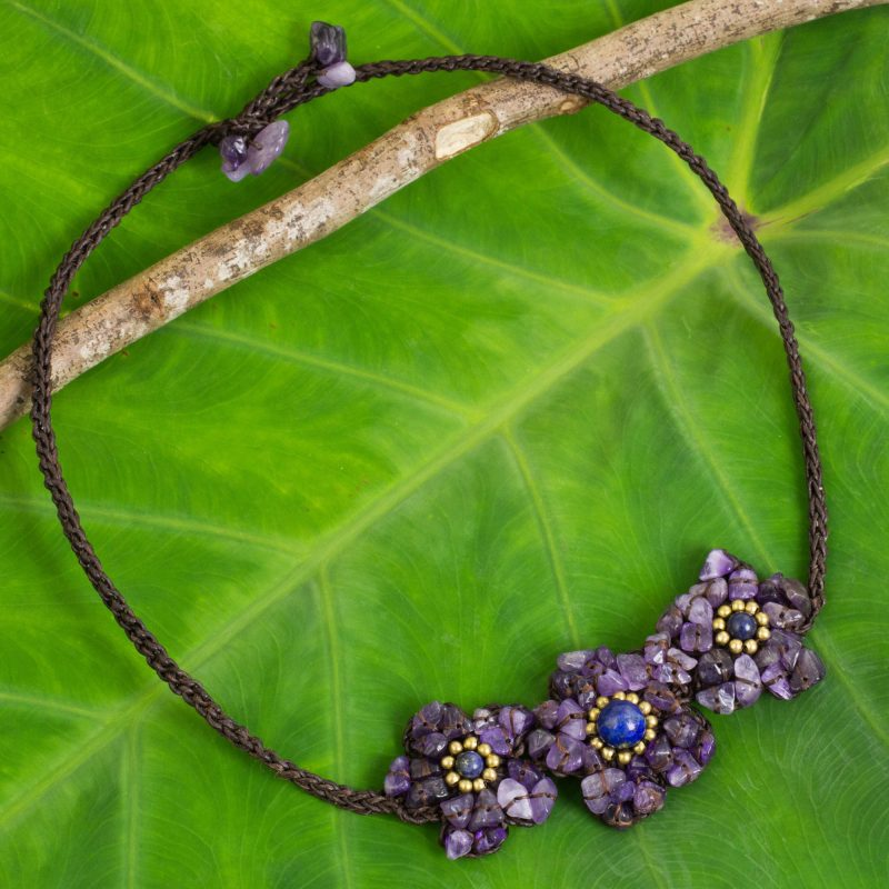 Bearing Blossoms Flower Motif Corded Necklace with Amethyst and Lapis Lazuli