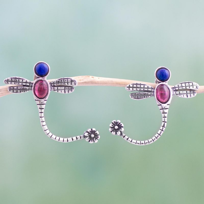 Dragonflly Tails Garnet and Lapis Lazuli Sterling Silver Dragonfly Drop Earrings from Mexico