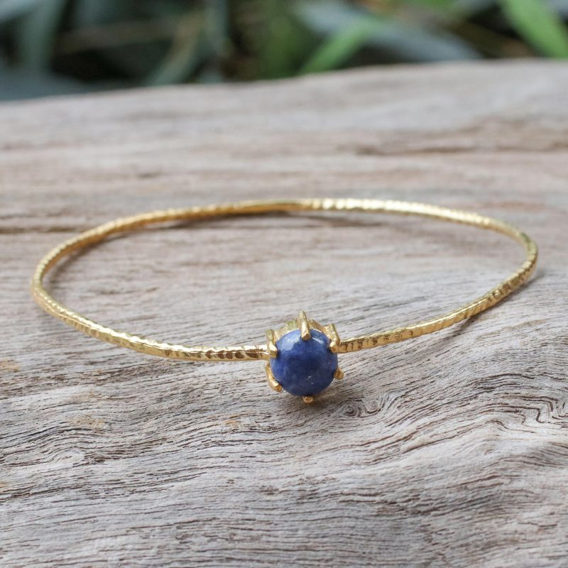 Meteor Gold Plated Lapis Lazuli Bangle Bracelet from Thailand