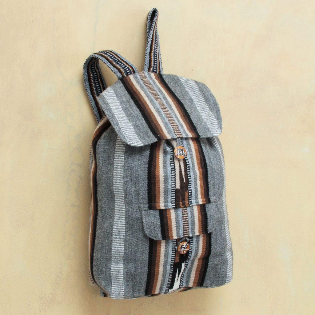 Winter Skies Alpaca wool blend backpack gray black stripes Fall Fashion trends