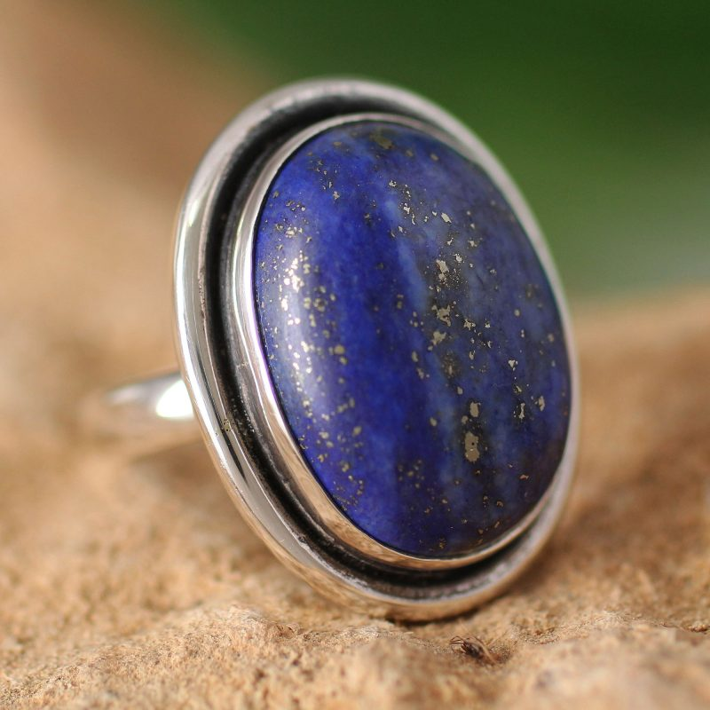 Universe Lapis Lazuli Cocktail Ring in Sterling Silver Jewelry