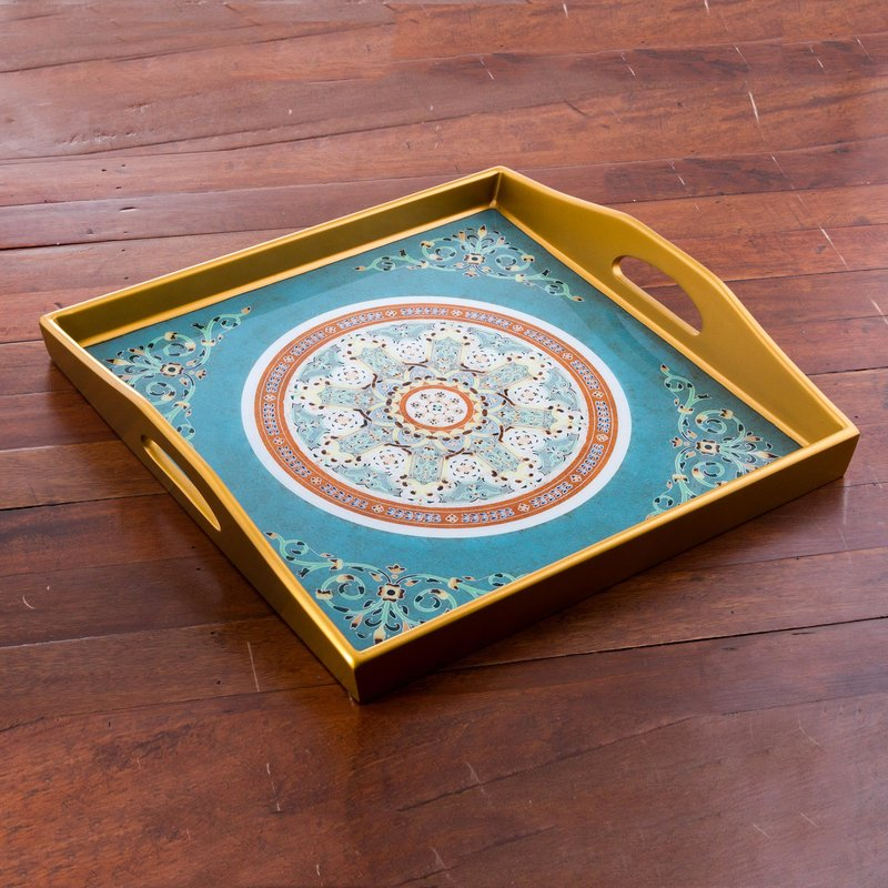 Reverse Painted Glass Tray with Floral Motifs in Teal Floral Tea Serving tray