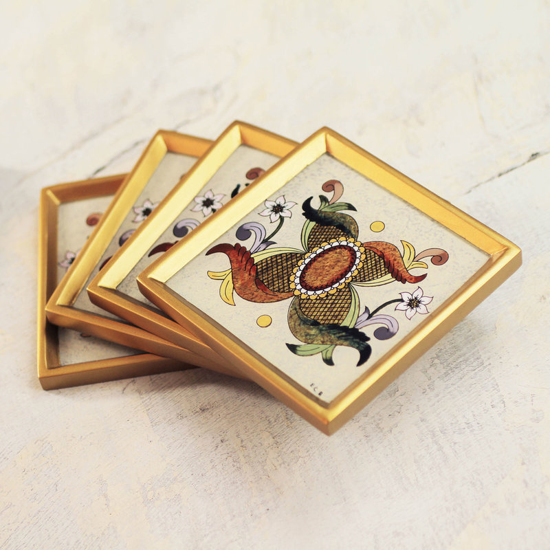 Colonial Sand Reverse Hand Painted Glass coasters