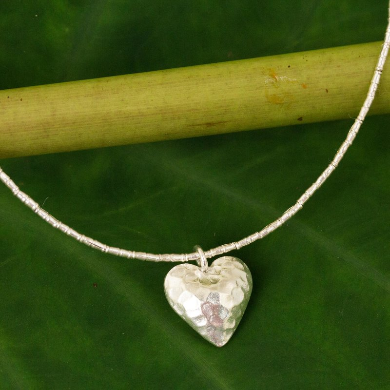 Handcrafted Heart Shaped 950 Silver Pendant Necklace Heartbeat Handcrafted Heart Shaped 950 Silver Pendant Necklace Thai Hill Tribe Jewelry
