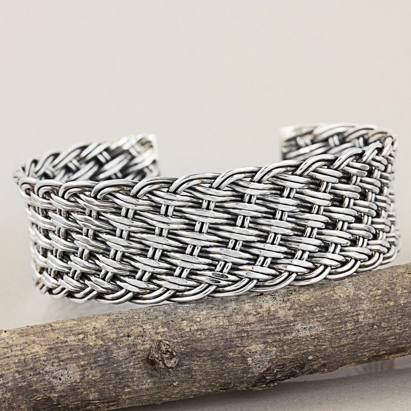 Thai Handcrafted Woven Sterling Silver Cuff Bracelet Thai Hill Tribe Jewelry