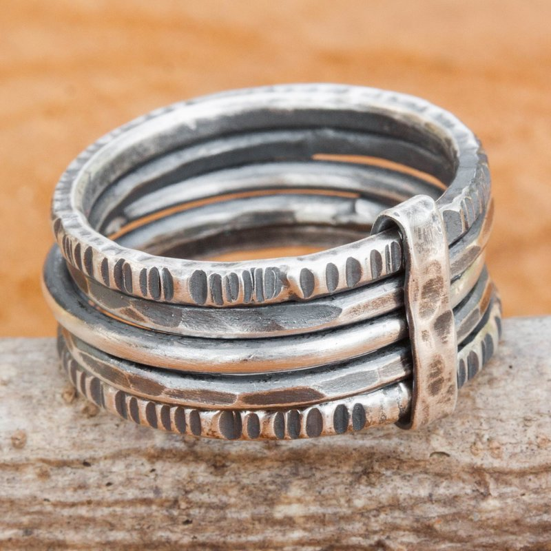 Hand Crafted Sterling Silver Wrap Ring Thai Hill Tribe Jewelry Dark Karen Quintet Hand Crafted Hill Tribe Dark Silver Five Linked Band Rings