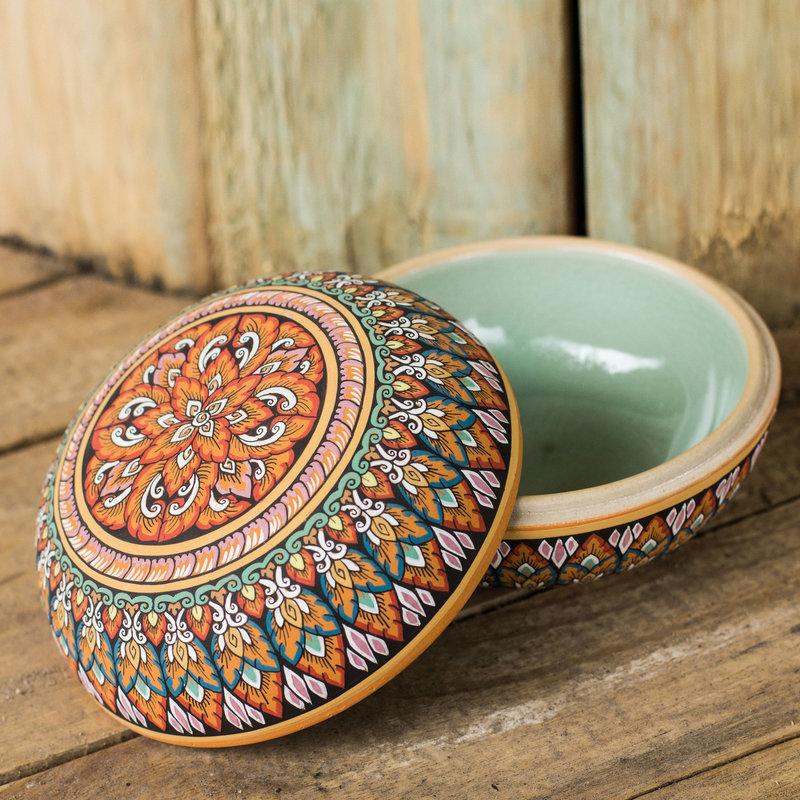 Fair Trade Thai Painted Celadon Ceramic Round Jewelry Box