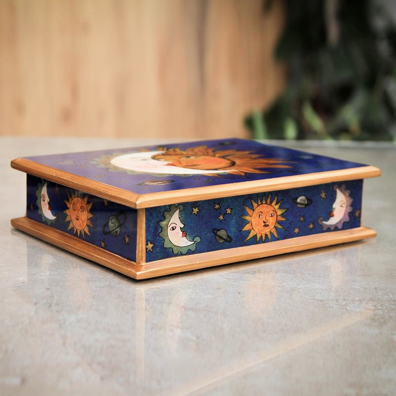 Eclipse Motif Reverse Painted Glass Box Peru jewelry trinket keepsake box