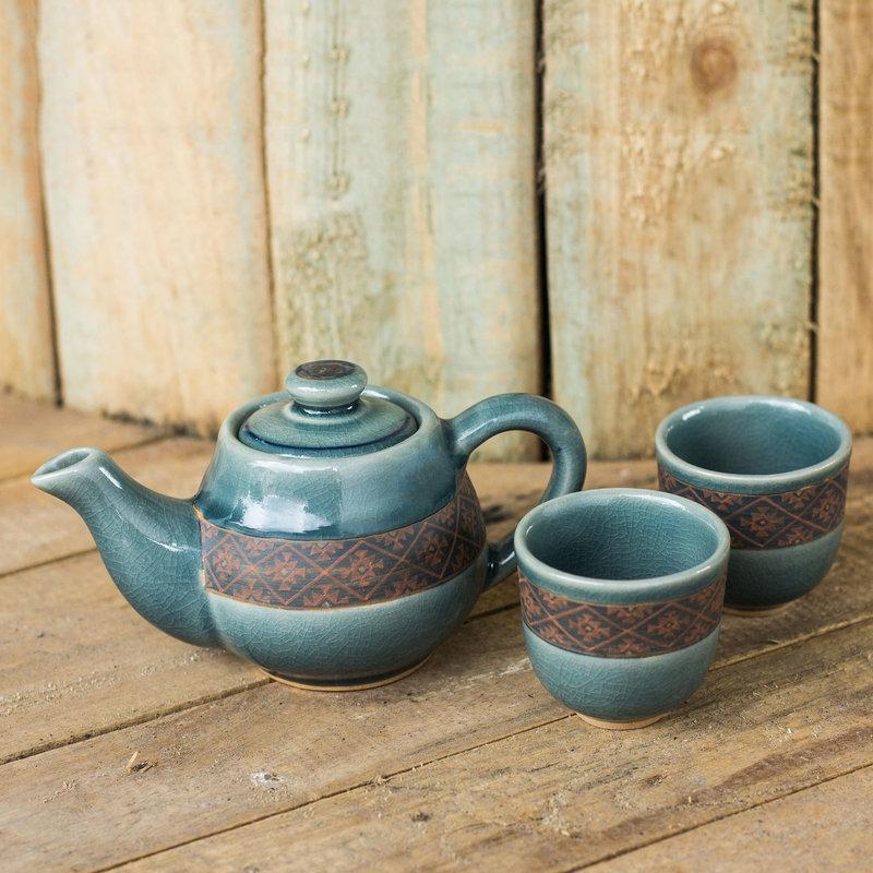 Blue Celadon Tea Set Handmade in Thailand (Set for 2)