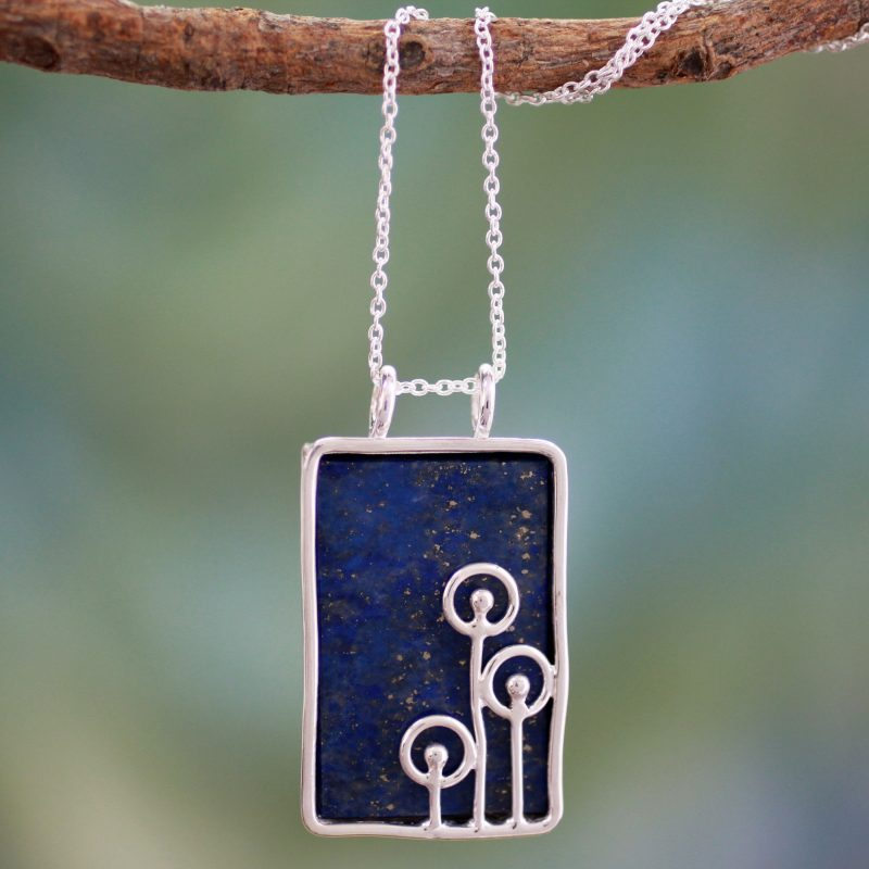 Star Shower Modern Sterling Silver and Lapis Lazuli Pendant Chain Necklace